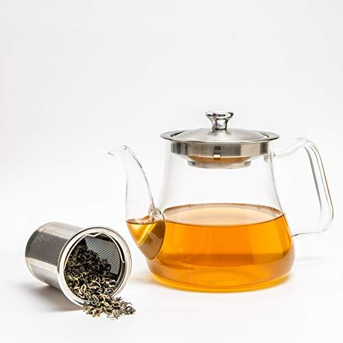 VAHDAM, Glasteekanne mit Infuser | 33 oz / 1000ml teekanne mit sieb für losen Tee | Perfekte teekanne Glas | Teekanne für Herd | Kratzfeste, mikrowellengeeignete Teeschneidemaschine | teefilter