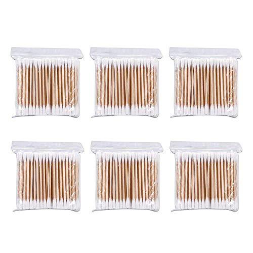 Lot de 600 cotons-tiges avec poignées en bois et bambou pour le maquillage, le nettoyage, le nettoyage des oreilles et le soin des plaies