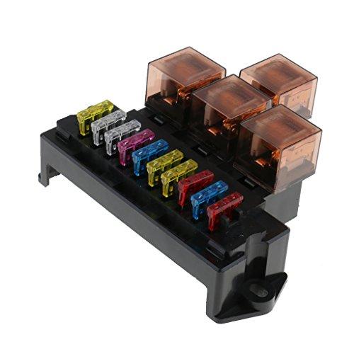 Sharplace Universel Boîte à Fusible Relais 10 Voies Auto Titulaire Bloc De 12V 80A Protection De Charge