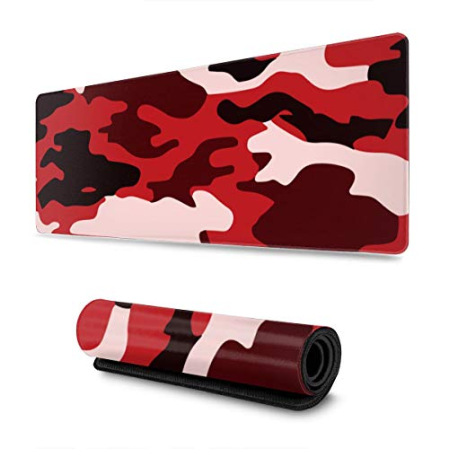 Red Black Camouflage Large Mouse Pad Keyboard Pad Long Extended Multipurpose Computer Game Mouse Mat