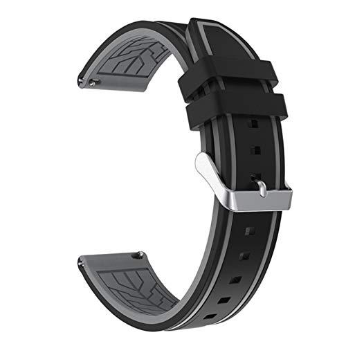 XCXFCA Correa de silicona suave para reloj deportivo de 20 mm, 22 mm, 24 mm, 26 mm, goma, impermeable, para hombres, correa de repuesto (color de la correa: negro gris 02, ancho de la correa: 20 mm)