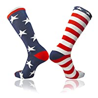 TCK Stars & Stripes USA American Flag Mismatch Soccer & Football Patriotic Athletic Socks