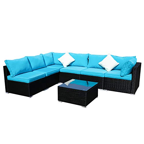Outdoor Wicker Patio Furniture 7pcs Sectional Cushioned Rattan Conversation Sofa Sets Black (Blue)