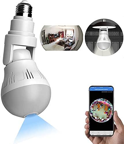 WANYANG Câmera de Segurança WiFi, 1080P Câmera Lâmpada Espiã 360 ° Panorâmica Oculta E27 Lâmpada Câmera Espiã com Visão Noturna para Celular Android/IOS