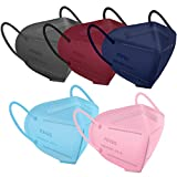 Multiple Colour KN95 Face Mask 50 PCs, Miuphro 5 Layers KN95 Masks, Filter Efficiency≥95% Protection Against PM2.5 Dust, Air Pollution(Pink,Blue,Red,Purlpe,Grey)