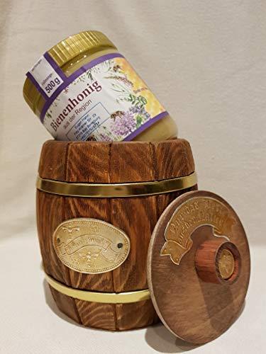 Honigfass mit Honig ist eine Innovative Geschenkidee, in Präsentkorb integrierbar, als Souvenir, Honigtopf oder Honigspender