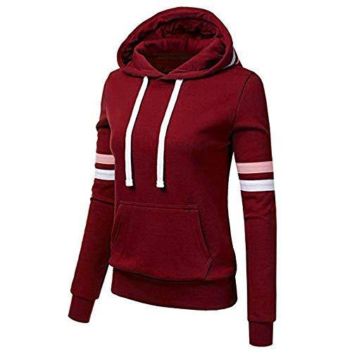 Sunggoko Sudadera con capucha para mujer: chaqueta de entretiempo con gran tamaño, forrada, capucha, forro polar, cordón, cremallera para otoño e invierno 01, 12-Wine Red, S