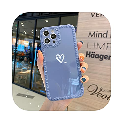 Suave amor corazón caramelo teléfono caso para iPhone 11 12 Pro Max 6 6S 7 8 Plus XR X XS MAX SE mini fundas protectoras cubiertas-gris-para iPhone 8