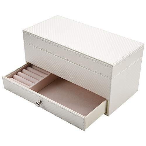 Gaetooely Cajón Caja De Almacenamiento De Reloj De 4 Compartimentos Caja De Joya Cuadrada De Cuero De Exhibición Almacenamiento De Joya, Blanco