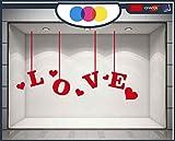 mural stickers Ventanilla San Valentín – Corazones Adhesivos – Rojo – Vitrina para Tiendas – Love – San Valentín – Pegatinas