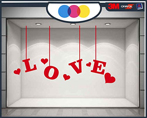 mural stickers Ventanilla San Valentín – Corazones Adhesivos – Rojo – Vitrina...