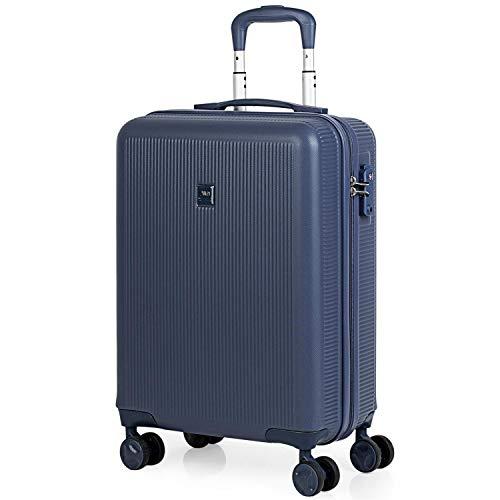 JASLEN - Maleta Cabina Avion Pequeña 4 Ruedas 55x40x20 Hombre Mujer. Viaje Rígida. Trolley Equipaje de Mano. Candado con Combinación (Cerradura aprobada por la TSA) 171050, Color Azul