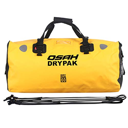 BORLENI 60L Waterproof Duffel Dry Bag OSAH Airtight Motorcycle Tail Bag for Riding Cycling Kayaking Boating Rafting Fishing Camping Backpacking Outdoor Adventure Saddle Travel Bag