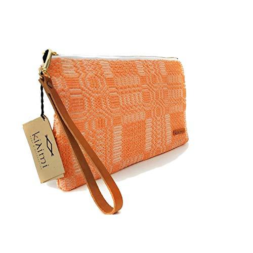 Kilimi Bags - Bolso de mano (30 x 18 cm), color coral y blanco