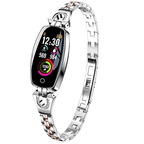 H8 Smart Watch Blood Pressure Heart Rate Monitor Sport Waterproof Bracelet New Fitness Tracker (Silver)
