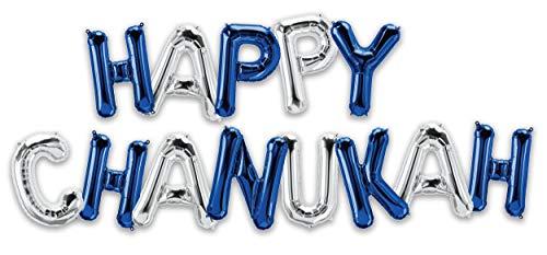 Hanukkah Balloon - Happy Chanukah 16' Letter Balloons - Silver and Blue - Hanukkah Décor