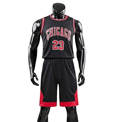RuiyouQQ Kinder Junge Herren Michael Jordan # 23 Chicago Bulls Retro Basketball Shorts Sommer Trikots Basketballuniform Top & Shorts Basketball Anzug (Black, L for Adult)