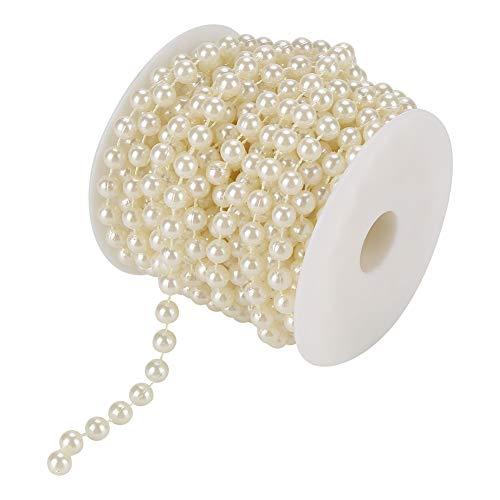 10M 8mm Perlengirlande weiß Perlenband Hochzeit Girlande Kunstperlen Perlen für Home Party Hochzeit Anhänger Dekoration(Beige)