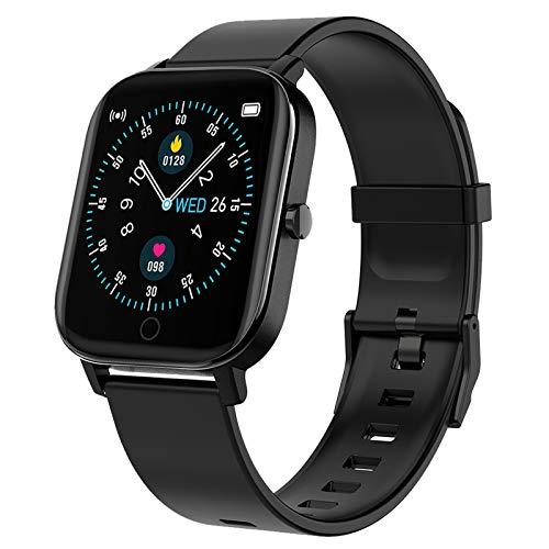 Polywell Fitness Armbanduhr mit Herzfrequenz, Fitness Tracker, Bluetooth Sportuhr Aktivitätstracker Schrittzähler, Schlaf Monitor, Kalorienzähler (Black)