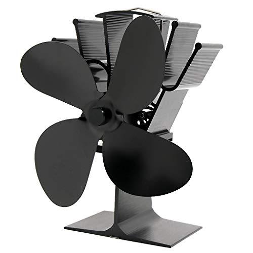 MagiDeal Ventilador de Estufa de Leña con Calor Silencioso, Ventilador de Estufa para Quemador de Leña, Accesorios de Chimenea, 4 Aspas - Negro, Individual