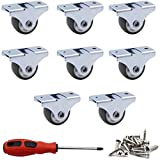 ZXHAO 8 Pack 1' Caster Wheels Rigid Fixed Non Swivel Casters with Metal Top Plate No Noise TPE Wheels for Furniture, 141 Total Capacity