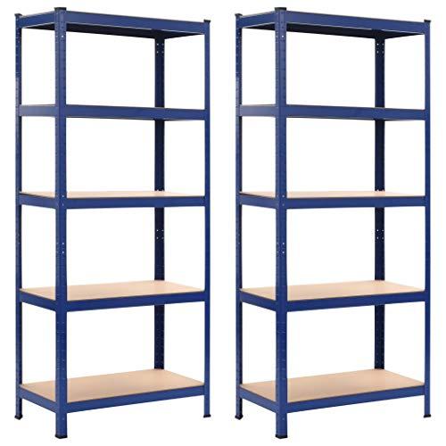 vidaXL 2X Estantería de Acero y MDF Almacenamiento Orden Economía Industrial Complemento Cocina Despensa Cuarto de Lavadora Garaje 80x40x180 cm Azul