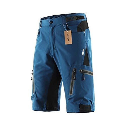 Gneric YMYGBH Radlerhose Damen Gepolstert XL-XXL Herren Radhose Polyester Außen Sport Downhill Shorts Breathable Loose Fit MTB Fahrrad-Shorts (Color : Dark Blue, Size : XXL)