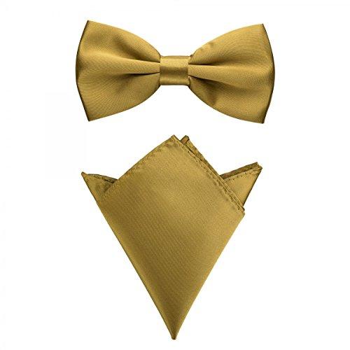 Rusty Bob - Fliege mit Einstecktuch in verschiedenen Farben (bis 48 cm Halsumfang) - zur Konfirmation, zum Anzug, zum Smoking - im 2er-Set - Gold