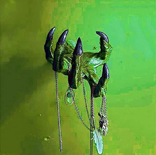 Creepy Grabbing Severed Hand Hanging Wall Art Decoración, 3D Mano de bruja Colgante Escultura Adornos Creativos Gancho de Pared Colgadores de Puerta, Estatua de Arte de Halloween (verde)