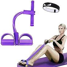 FIVE BEE Upgrade 4 لوله تمرینی چند منظوره ساق پا | نشستن بدن سازی Expander | تجهیزات آموزش طناب دار کشش الاستیک | باند مقاومت پدال | رنگ بنفش