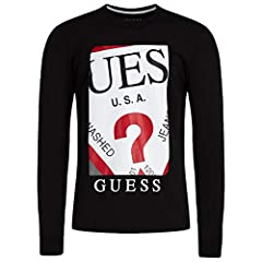 Guess LS Limited Camiseta de Manga Larga con Logotipo de Color Negro - M94I50 J1300