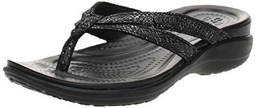 Crocs womens Crocs Women#039s Capri Strappy | Casual Comfortable Sandals for Women Flip Flop Metallic Black 8 US