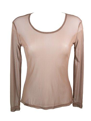 Miss Rouge: T-Shirt, Oberteil aus transparentem Gewebe Gr. Small, taupe
