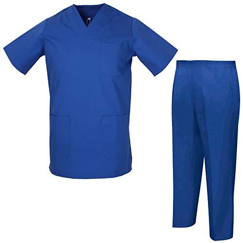 MISEMIYA - Uniformi Unisex Set Camice ? Uniforme Medica con Maglia e Pantaloni Uniformi Mediche Camice Uniformi sanitarie - Ref.8178 - X-Small, Blu