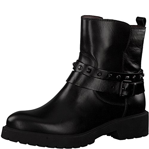 Tamaris Damen Biker Boots 25480-31,Frauen Stiefel,Stiefelette,Halbstiefel,Bikerstiefelette,Bootie,hoch,Blockabsatz 4cm,Black,EU 39