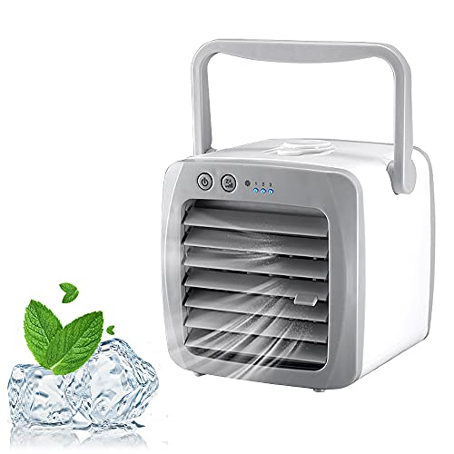 Skystuff Personal Air Cooler 3 in 1 USB Mini Air Cooler, Humidifier, Air Purifier and Cooling Fan with Portable Handle Air Conditioners for Home and Office Use