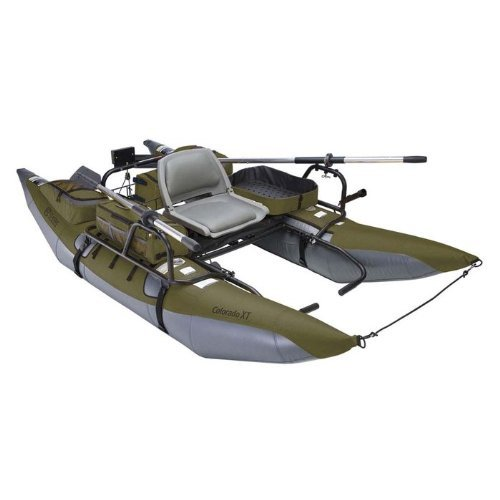 Classic Accessories Colorado XT Inflatable Fishing Pontoon Boat With Transport Wheel & Motor Mount, Sage/Gray