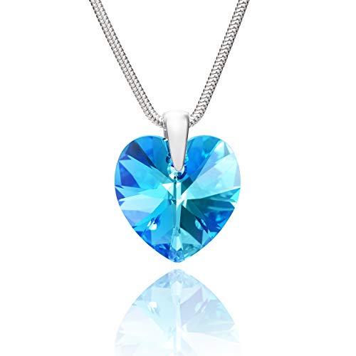 LillyMarie Damen Silberkette Echt Silber Swarovski Elements Herz-Anhänger Hell-blau Längen-verstellbar Schmucketui Schöne Geschenke für Frauen