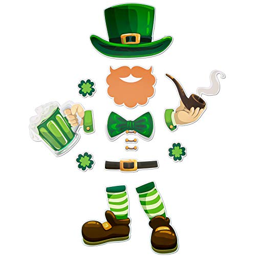 14 Pieces Small St. Patrick's Day Refrigerator Magnets Set Irish Party Shamrock Beer Decor Leprechaun Fridge Magnet Stickers St. Patrick's Day Decorations for Metal Door Mailbox Garage Cabinet