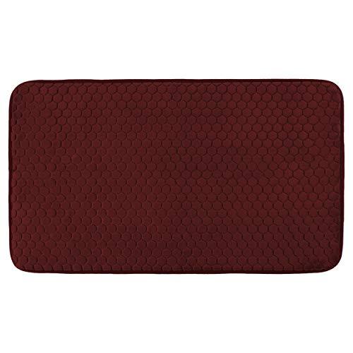 Alfombra de Baño Alfombra Ducha Antideslizante Espuma con Memoria Suave y Absorbente 100% Algodón Lavable a Máquina 45 x 75 cm - Rojo