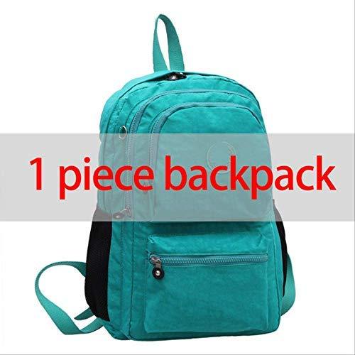 Mochila QLXG Mochila Escolar Original Informal para Adolescente Laptop de Nylon Impermeable con Llavero 30 * 13 * 40 cm Pieza Lake Green