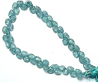 Natural Gemstone Blue Aquamarine Hand Carved Heart Shape Briolettes 10.5 Inch Full Strand 7 to 8MM Size Natural Beryl Super Quality Beads