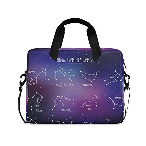 RELEESSS Laptop Sleeve Galaxy Zodiac Constellation Laptop Handbag Briefcase Messenger Carrying Case Bag Adjustable Shoulder Strap for 13-16 Inch