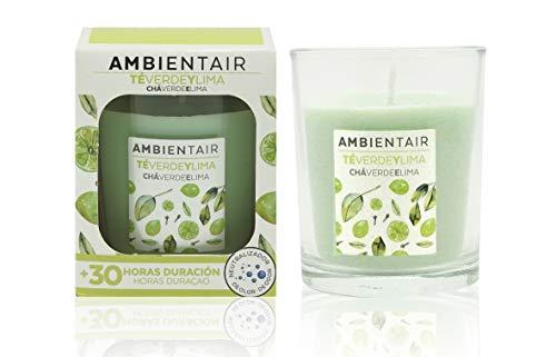 Ambientair. Vela aromatica de Te Verde y Lima. Vela perfumada con cera vegetal y perfume natural. Duracion estimada de 30 horas. Disfruta de la aromaterapia en tu casa con esta vela en vaso de cristal