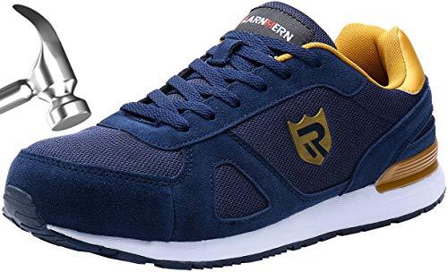 Zapatos de Seguridad Hombres, LM-23 Zapatillas de Trabajo con Punta de Acero Ultra Liviano Reflectivo Transpirable(42 EU,Gema Azul)