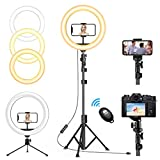 """【Adjustable 12"""" Larger Ringlight】with dimmable led bulbs, selfie ring light with stand provides more brightness light and broader shooting for your photography/ live streaming than others. Circle light 10 levels brightness and 3 light tunes ( warm, n..."""