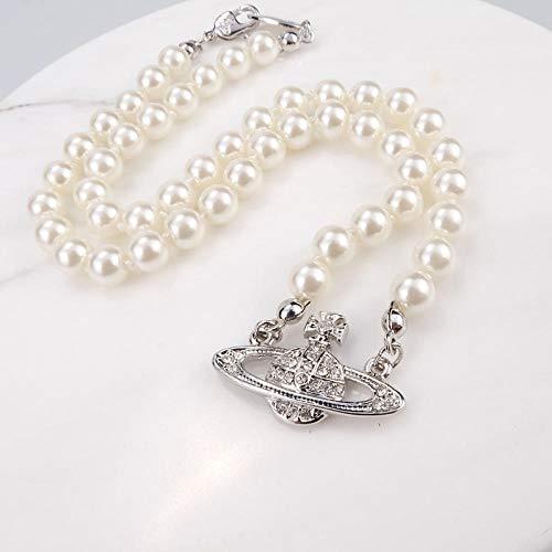 Fnho Crystal Rhinestone Saturn,Pearl Necklaces White Planet Crystal,Collar de Perlas Saturno, Cadena de clavícula de Diamantes Brillantes-A_Upgrade Pack