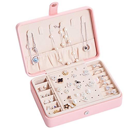 Titular de collar Organizador de la joyería caja for el collar pendiente de la joyería de los anillos de viajes organizador con doble capa de diseño de joyería caja for las mujeres y niñas Organizador