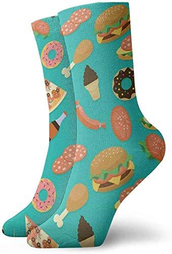 hdyefe Hamburger Donut Coke Damen Herren Socken Neuheit Socken Kleid Socken Casual Fashion Strümpfe 30 cm
