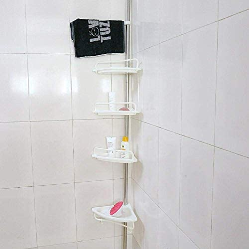 Estink Bathroom Corner Caddy 4 Tier Adjustable Tension Corner Pole Caddy 20kg 44lbs Load Telescopic product image
